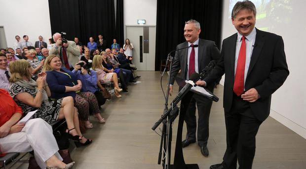 Basil McCrea and John McCallister at NI21's launch at The Mac in 2013
