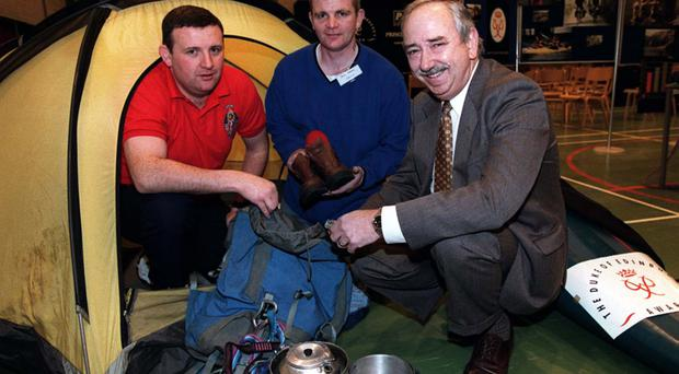 Adrian Ismay (left) with Paul Parks, former offender and Duke of Edinburgh Gold Award Winner and Probation Board of Northern Ireland project worker, with Alan Jamison, governor of Hydebank YOC, in 1999