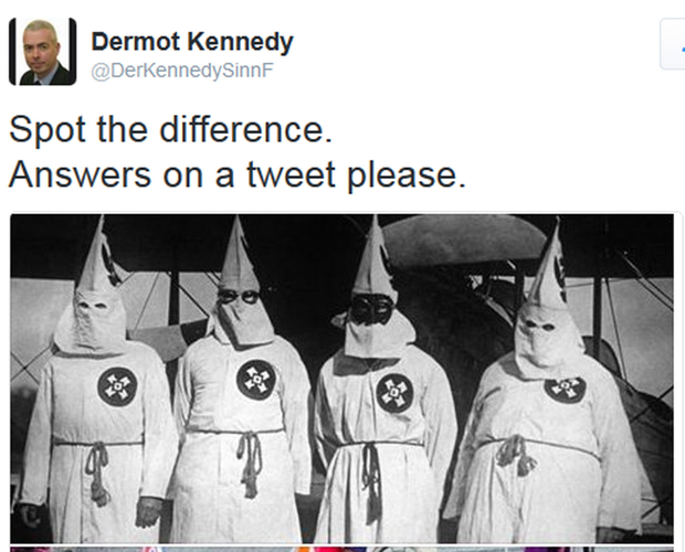 The offending tweet by Sinn Fein's Dermot Kennedy