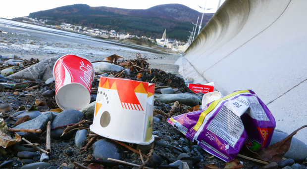 Litter on the beach at Newcastle, Co Down