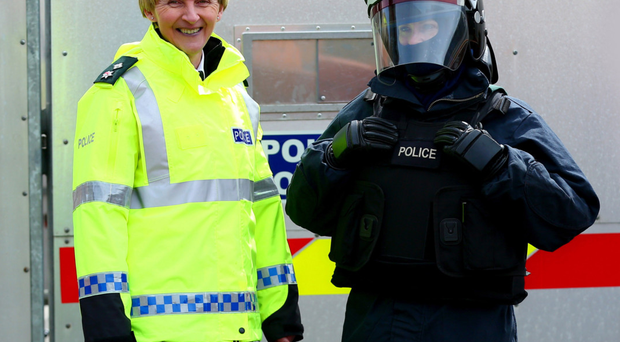 Chief Superintendent Barbara Gray (left) preparing for a PSNI training exercise at Ballykinler Army Base