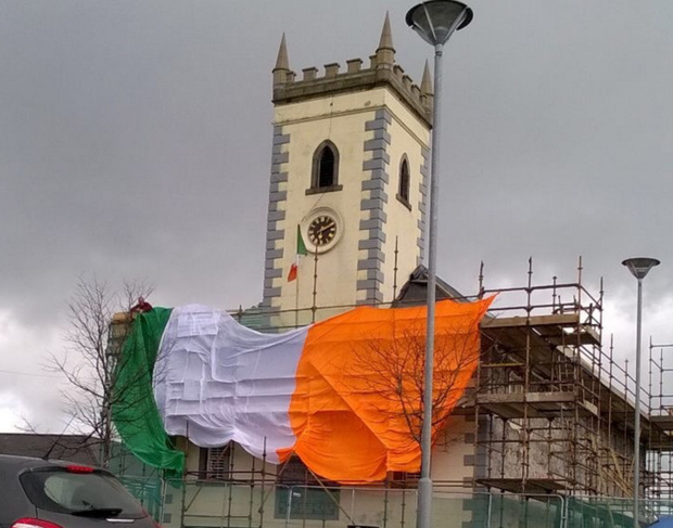 The Tricolour flying outside Castlewellan Library