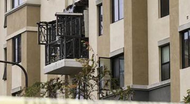 The balcony which collapsed on June 16 last year in California