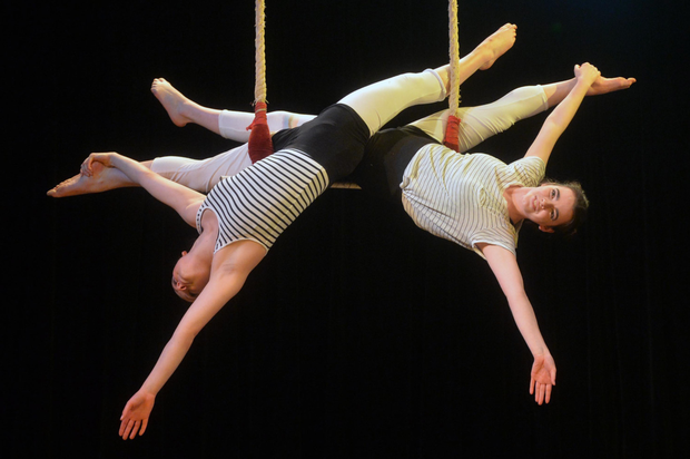 Katie and Caitlin from Belfast Youth Circus during the Festival Of Fools launch yesterday