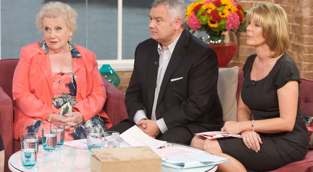 Denise Robertson with Eamonn Holmes and Ruth Langsford. Photo: Steve Meddle/REX/Shutterstock