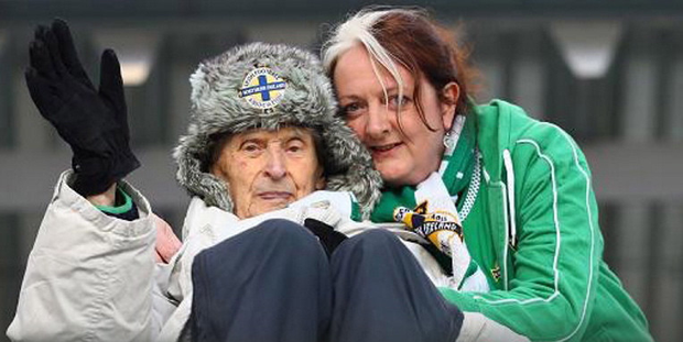 Edgar Turner with his daughter Kate at a Northern Ireland match in the Faroe Islands