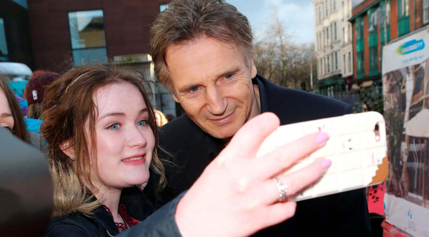 Liam Neeson with fans outside the IFTA awards in Dublin on Saturday