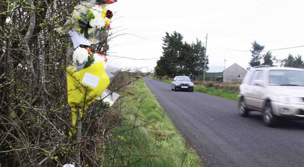 Flowers and messages in memory of Ballymoney man Norman Galbraith