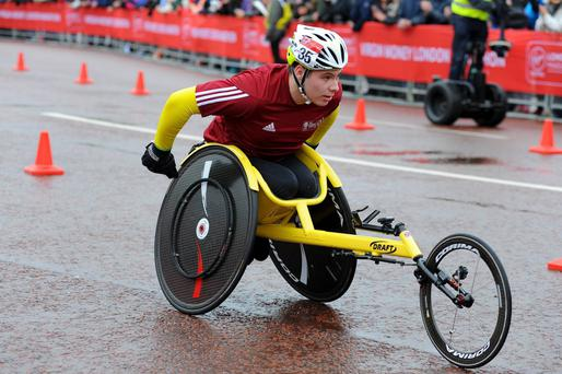 Jack Agnew competing in the London Marathon wheelchair race