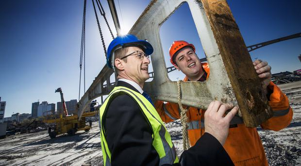 Clive Bradberry of Translink and Robert Gardiner of the Downpatrick & Co Down Railway with one of the historic arches