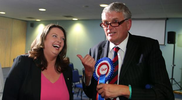 Jim Wells has a laugh with the SDLP's Sinead Bradley