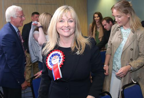 The DUP's Brenda Hale looks pleased after her election
