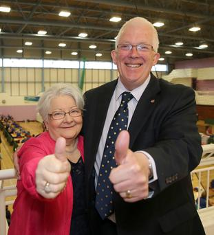 Stewart Dickson of Alliance celebrates with wife Sandra
