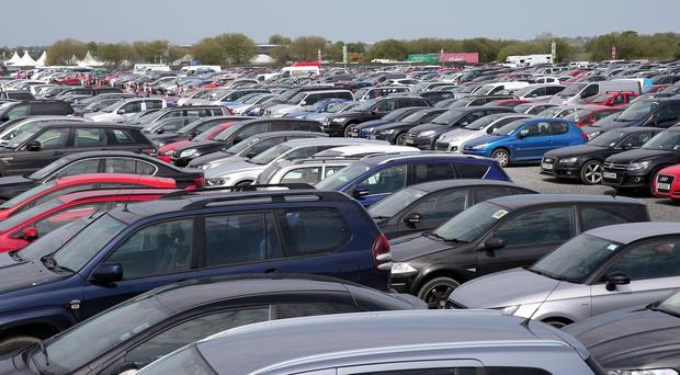 The packed car park on the final day of this year's Balmoral Show yesterday