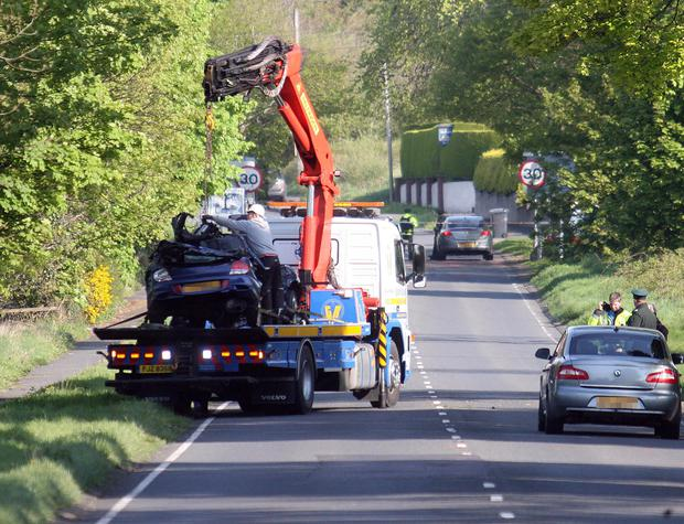 The scene of the fatal accident on the Newcastle Road in Castlewellan