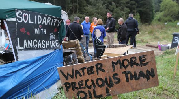 Campaigners against an oil drilling operation at Woodburn Forest in Carrickfergus
