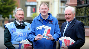 From left: PSNI Superintendent Nigel Goddard, Gary McAllister and IFA President Jim Shaw at the launch in the Dukes Hotel