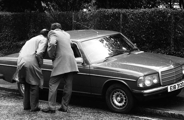 The car in which William Doyle was shot dead by the IRA in Belfast in 1983