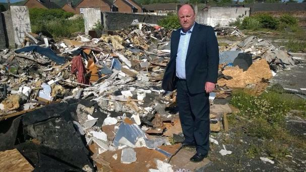 Councillor Frank McCoubrey at the site yesterday