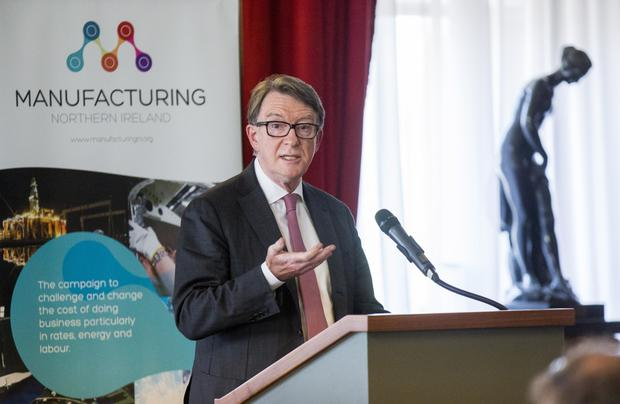 Lord Mandelson delivers an impassioned pro-EU speech at the Belfast Harbour Commissioners' Office yesterday