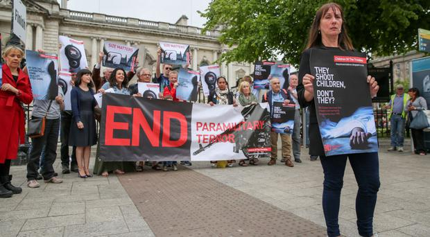 The Children Of The Troubles protest rally, held at the front of Belfast City Hall, attracted only a small crowd