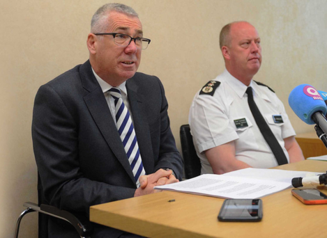 Jon Boutcher (left), who will lead operation Kenova, addresses the media alongside the PSNI Chief Constable George Hamilton