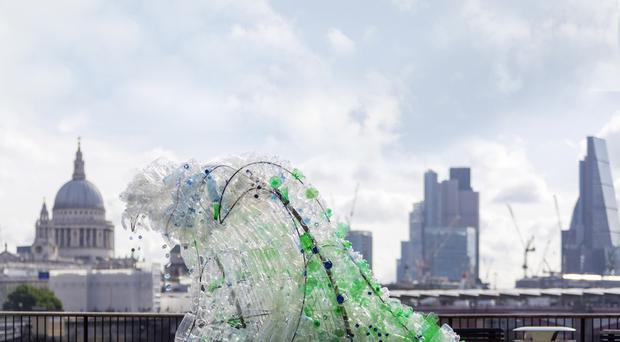 Highlighting the extent of the problem, a new sculpture made entirely from waste plastic bottles by eco-artist Wren Miller on London's South Bank
