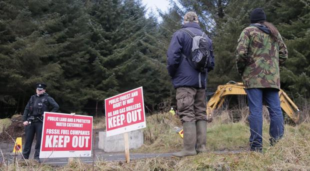 Green activists and police at the scene of the Woodburn drill at the height of tensions back in March