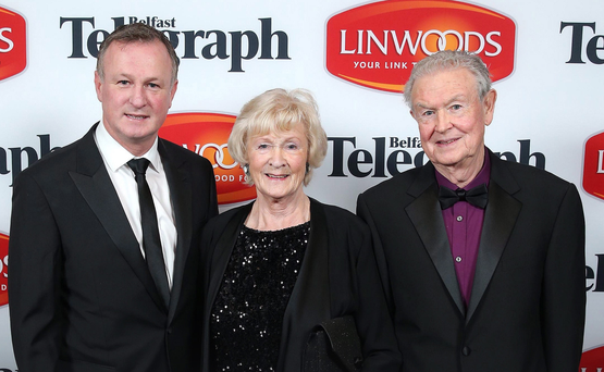 Michael O'Neill with his parents Des and Patricia at the Belfast Telegraph Sports Awards last year