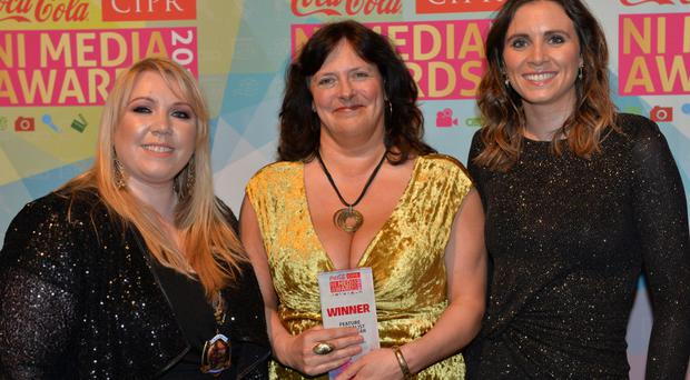 Samantha Livingstone, CIPR chair, Suzanne Breen, Features Journalist of the Year, and Seona McGrath of Smarts Communicate