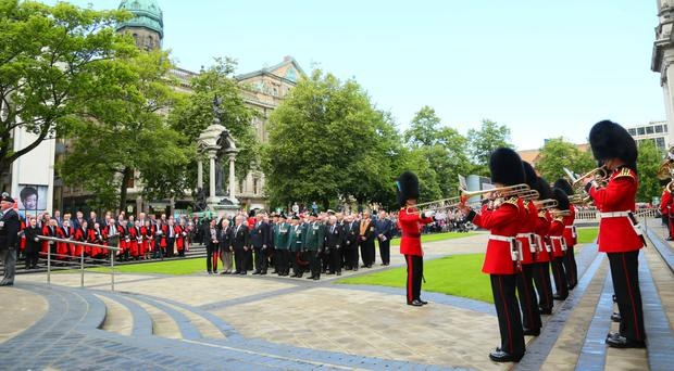 Lord Mayor Brian Kingston led the Somme ceremony in Belfast with wreath-laying at the Cenotaph