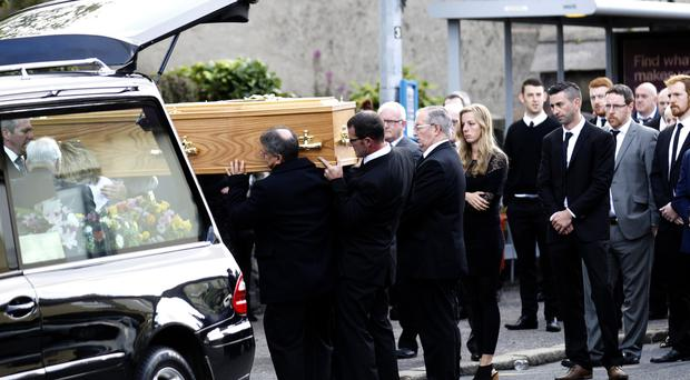 The funeral of Siobhan Crothers at St Joseph's Church, Crossgar, yesterday