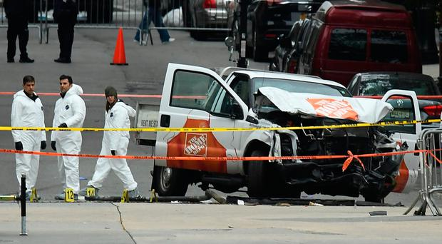 The wreckage of the Home Depot pickup truck