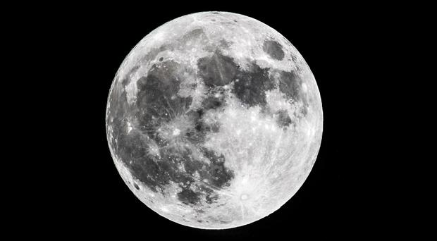 The supermoon in the night sky