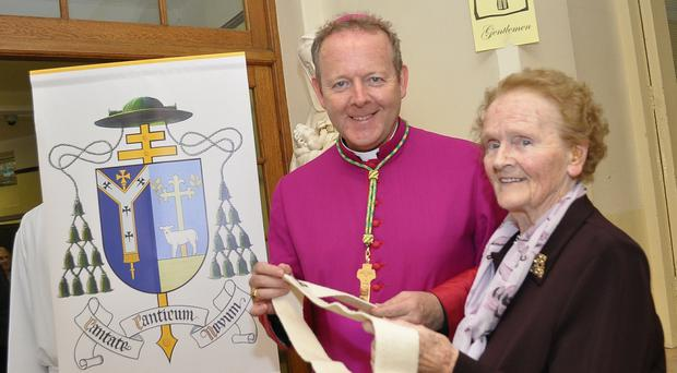 Archbishop Eamon Martin with his mother Catherine after his investiture as Primate in 2015