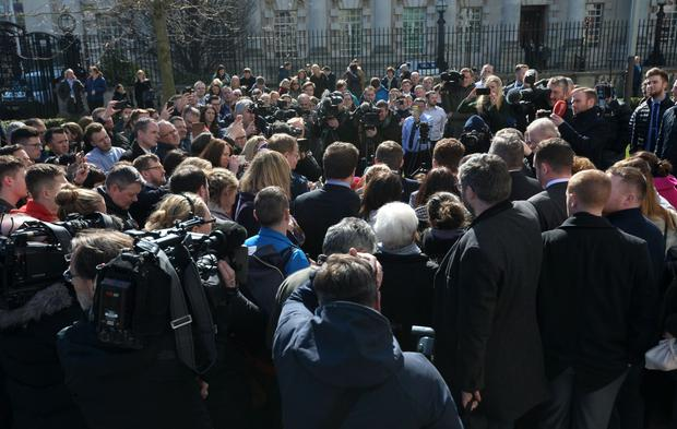 Paddy Jackson speaks to the media outside court after the verdict on Wednesday