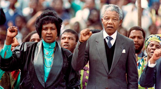 Nelson Mandela and Winnie in 1990