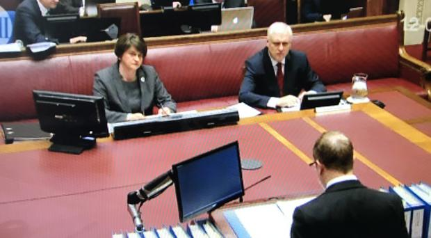 DUP leader Arlene Foster gives evidence in senate chamber yesterday