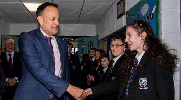 Taoiseach Leo Varadkar meets students including Alana McCourt at Newbridge Integrated College, in Loughbrickland, Co Down, yesterday