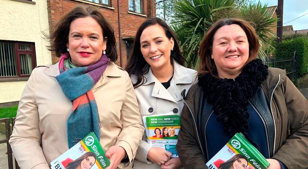 Sinn Fein leader Mary Lou McDonald, candidate Orfhlaith Begley and West Tyrone MLA Michaela Boyle