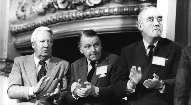 Former Prime Minister Edward Heath with two ex-Secretaries of State for Northern Ireland Francis Pym and William Whitelaw