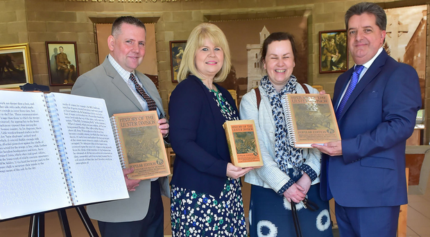 Ronnie Armour (right), head of the Northern Ireland Prison Service; Mark Mooney, Braille instructor at Maghaberry Prison, Carol Walker MBE, director of the Somme Association, and Hazel Flannigan, a blind volunteer at the Braille unit in Maghaberry