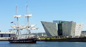 The TS Royalist sails up the Lagan for the Belfast Titanic Maritime Festival