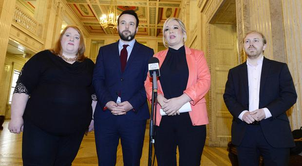 Naomi Long, Colum Eastwood, Michelle O'Neill and Steven Agnew at Stormont yesterday