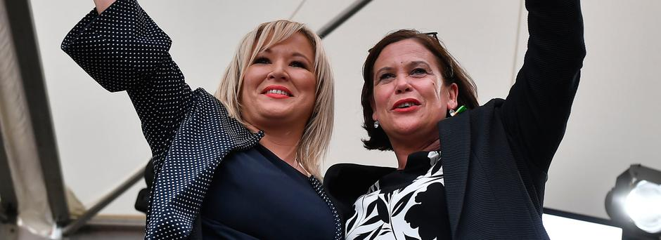 Sinn Fein leader Mary Lou McDonald and deputy leader Michelle O'Neill after the referendum result