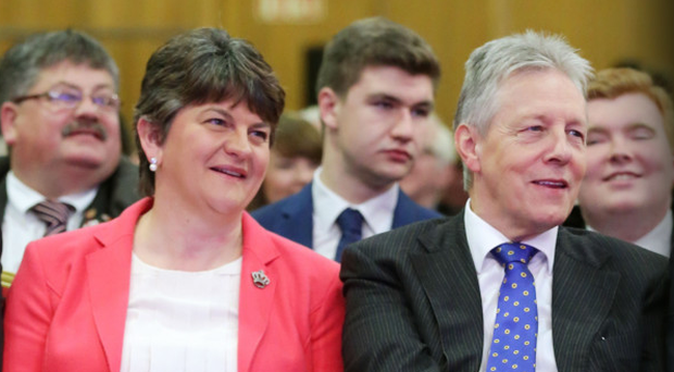Arlene Foster and Peter Robinson at the DUP annual conference in 2015