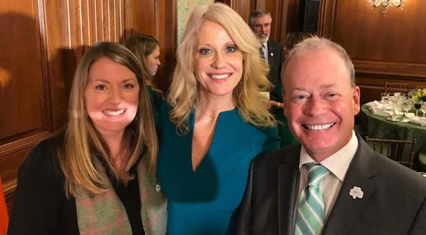 Norman Houston with Kellyanne Conway (centre), special counsel to President Trump