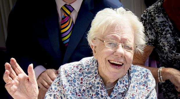 Maud Nicholl celebrates her 109th birthday with friends, family, a card from the Queen and a cake at the Tullyglass Hotel in Ballymena