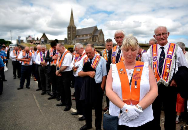 Orange Order members at Drumcree yesterday