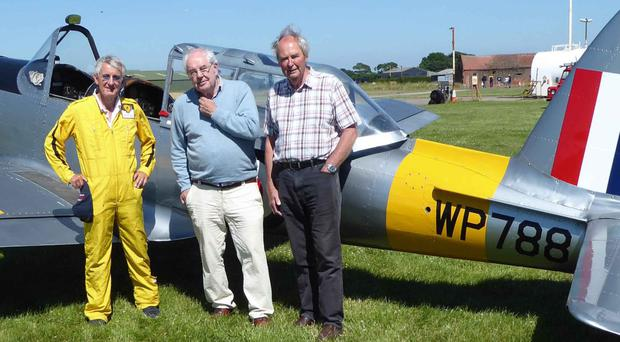 Alan Dorman, Brian McCann and Denis Christie, all former Acting Pilot Officers in the Queen's University Air Squadron